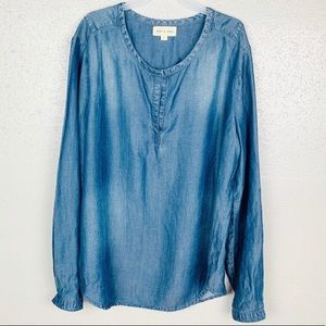 Anthropologie Cloth & Stone Chambray Top Large
